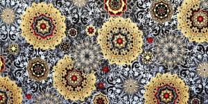 Mustal taustal, kuldsekirju muster, puuvillane kangas, 112cm, 42942M-2
