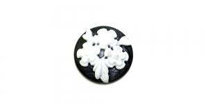 AR2 19,5mm Must, valge lillekimbu pildiga kamee