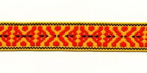 Rahvusliku ornamendiga kirju pael Art.9453000 /EM / 3cm / Värv 345 kollane punasega