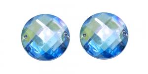 WK40 25mm Heledam sinine, läbipaistev AB- kattega dekoraatiivkivi, 2tk