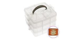 Stackable storage box es, 3 levels, 16,5 x 16,5 x 13 cm, KL1265