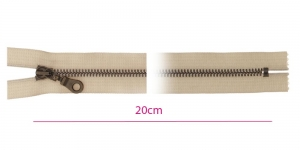 1825ОХ, Metall-tõmblukk pikkusega 20cm, 6mm antiikpronks hammastikuga, helebeeš