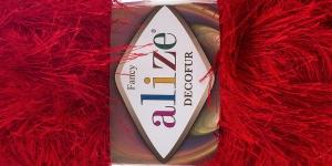 Karvane dekoratiivlõng Decofur, Alize, värv nr. 56, Punane