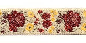 Lillemustriga kreemjas pael / Lace 3,2cm Värv:02, kreemjas, kirjude, kuldsete lilledega
