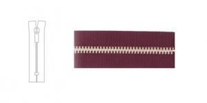 3912NI, 4mm hammastikuga metall-tõmblukk pikkusega 19cm-20cm, bordoopunane, nikeldatud hammastikuga