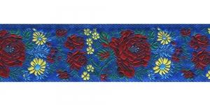 Lillekimpudega dekoratiivpael, laiusega 50 mm, värv 2N BLU, Art. 17147