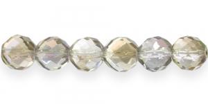 Ümar tahuline klaaspärl, Tšehhi, 14mm, Värvitu ja beeži laiguline läbipaistev AB-kattega, LH7