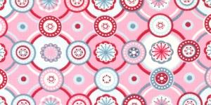 Puuvillane elastaaniga trikookangas kangas, kirju muster, roosal taustal