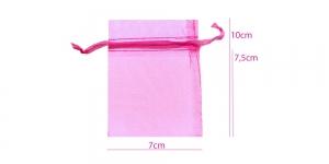 Organzakangast läbipaistev pidulik kinkekott satiin-krookepaelaga 10 x 7 cm, hele sirelililla/PA39