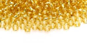 Terahelmed, seemnehelmed, Nr.6 (3.7-4.3 mm), Preciosa Kuldsed läbipaistvad hõbedase, läikiva auguga, HG12A