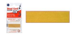 100% шелковый нить для бисера, ø0,50 мм, 2 м, янтарный, Beadalon JH03S-AMBER-C
