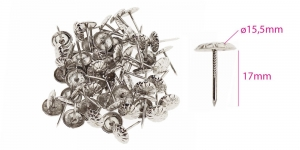 Polstrinaelad, dekoratiivnaelad, kübara ø15,5 mm, pinnakate: nikeldatud, 25 tk KL0326, PB25