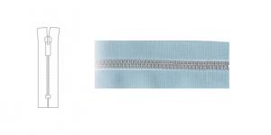 7124NI, 4mm hammastikuga metall-tõmblukk pikkusega 19cm-20cm, helesinine, nikeldatud hammastikuga