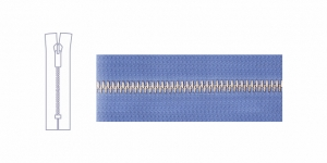 7584NI, Metallivetoketju, umpiketju, pituus 21cm-22cm, 6mm hammastus, vaaleansininen, nikkelipinnoite metalliosissa