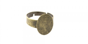 Sõrmusetoorik ovaalse plaadiga Antiikpronks / Antique Bronze Round Finger Ring Base / 16mm / EA68