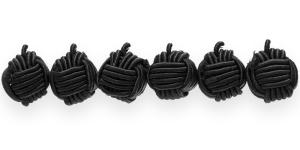 CB67 12mm Must põimitud paela kattega helmes
