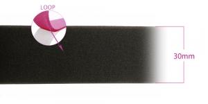 Õmmeldav takjapael, pehme pool LOOP, laius 30 mm, must