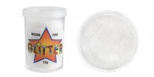 Litripuuder Micro Fine Glitter puistetopsikus, 15g, valge mitmevärvilise helgiga, UF20