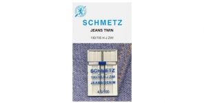 Twin Jeans Needle for Home Sewing Machines, Schmetz 4,0 mm, No.100