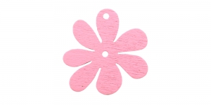 Lillekujuline heleroosa puitdetail, Wooden Light pink Flower Pendant, 25 x 2mm, IO157