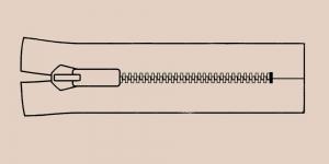 Muovihammas vetoketju Coats Opti 6mm, 26cm-32cm, umpivetoketju, väri: 8383