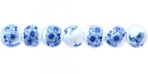 KM158 8mm Valge, ümar klaashelmes, sinise maalinguga