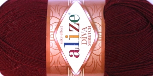 Diva Silk Effect Strech Yarn; Colour 57 (Burgundy), Alize