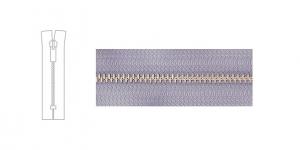 7121NI, 4mm hammastikuga metall-tõmblukk pikkusega 19cm-20cm,hallikas-helesinine, nikeldatud hammastikuga