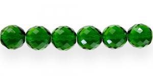Ümar tahuline klaaspärl, Tšehhi, 18mm, Tume mururoheline läbipaistev tahuline, LJ1