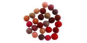 Handmade Felt Ball 25 pcs set, ø15 mm - 17 mm, Nepal wool, Habico HF118_REDS