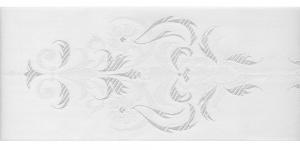 Luksuslik atlaspael sissekootud lillemustriga laiusega 94 mm, Fantastic, Art.94969, Valge