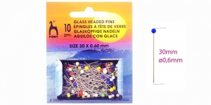 Normaalmõõtmetega klaaspea-nööpnõelad, 10g, 30 x ø0,60mm, Pony, 26201