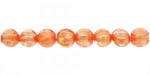 Oranž valge sisuga läbipaistev akrüülhelmes, AA73 7mm