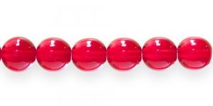 LN434A Ümar klaaspärl, Tšehhi, 12mm, Punane läbipaistev