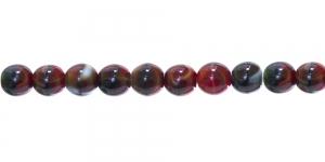 LN413 Ümar klaaspärl, Tšehhi, 10mm, Tumepunase, musta ja valgekirju
