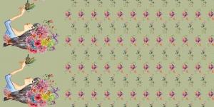 Puuvillane trikookangas neiu, lillede ja liblikatega Art.3806-10 heleroheline