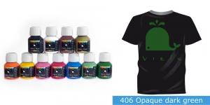 Kattev värv kanga värvimiseks pintsli, tampooni jms abil, Fabric Paint Opaque, 50 ml, Vielo, Värv: tumeroheline, #406 Opaque dark green