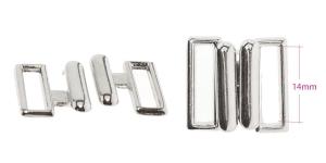 Metal Bra Lock, Bra fastener for 14 mm strip, shiny nickel-chromium plating, Italy, UC28