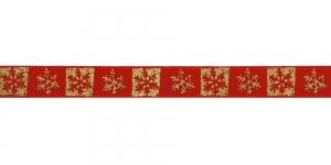 Lumehelbemustriga puuvillane dekoratiivpael 15mm Art.ST18-PG, värv 5 Punane, kuldne