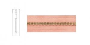 Metallivetoketju, umpiketju, pituus 19cm-20cm, 6mm hammastus, vaaleanpunainen, pronssi metalliosissa