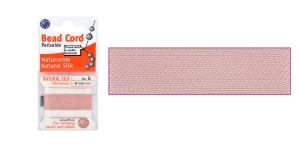 100% Silk Beading Thread, #5; ø0,65 mm, 2 m, color: light pink, Beadalon JH05S-PINLT-C
