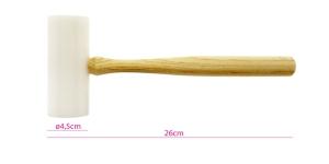 Nailonvasar, 26 cm, valge, mõlemad pooled ümarad, siledad, ø4,5 cm, PK5617, TA12