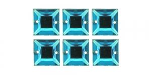 WH45 12mm Türkiissinised õmmeldavad kristallid, 6tk