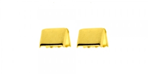 (Nahk)paelte otsakinnis Kuldsed / Golden Cord End C-Crimp, Dimple Pattern / 10x9mm / EI64