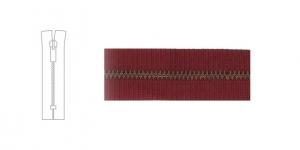 3912OX, 4mm hammastikuga metall-tõmblukud pikkusega 21cm-22cm, bordoopunane, antiikpronks hammastikuga