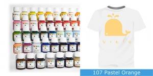 Värvid kanga värvimiseks pintsli, tampooni jms abil Vielo Fabric Paint, 50 ml, Värv: pastelne oranž, #107 Pastel Orange