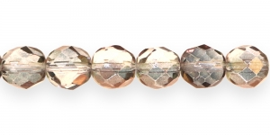LG72 Ümar tahuline klaaspärl, Tšehhi, 12mm, Helehall, Antiikkuldse kattega
