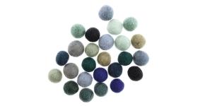 Handmade Felt Ball 25 pcs set, ø15 mm - 17 mm, Nepal wool, Habico, HF118_BLUES