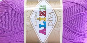 Siidja pinnaga akrüüllõng Diva Silk Effect; Värv 378 (Lillakasroosa), Alize