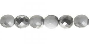 Ümar tahuline klaaspärl, Tšehhi, 14mm, Valge, läbipaistmatu, 1/2 hõbedase kattega, LN1077